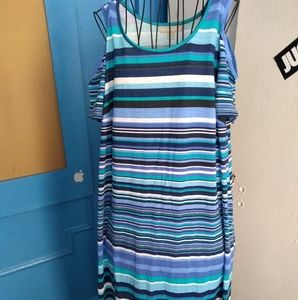 Striped Cold shoulder Dress